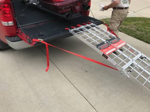 motorcycle ramp secured to pickup
