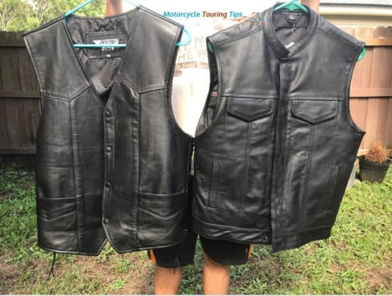 leather motorcycle vests side by side